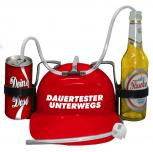 Trinkhelm Spaßhelm mit Printmotiv - Dauertester Unterwegs - 51633 - versch. Farben zur Wahl