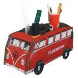 (170097) kultige Nostalgie- Stiftebox aus MDF in Feuerwehr- Auto- Optik bedruckt, Größe ca. 11 x 22x 9 cm