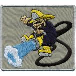 Aufnäher - Feuerwehrmann mit Schlauch -00295 - Gr. ca. 8 x 7 cm - Patches Stick Applikation