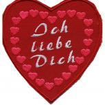 AUFNÄHER - Ich liebe dich - 02385 - Gr. ca. 9 x 9,5 cm - Patches Stick Applikation