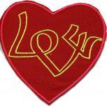 AUFNÄHER - Love - 02386 - Gr. ca. 9 x 9,5 cm - Patches Stick Applikation