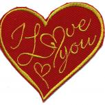 AUFNÄHER - I love you - 02387 - Gr. ca. 9 x 8,5 cm - Patches Stick Applikation