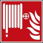 Hinweis- Schild - Brandschutzkennzeichen - Löschschlauch - BGV A8, DIN 4844 und Arbeitsstättenverordnung 200 x 200 mm - K1582/92