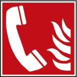 Hinweis- Schild - Brandschutzkennzeichen - Brandmeldetelefon - BGV A8 - DIN 4844 und Arbeitsstättenverordnung 200 x 200 mm - K1586/92