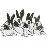 Aufnäher - Hasen schwarz-weiss - 00324 - Gr. ca. 8 x 5 cm - Patches Stick Applikation