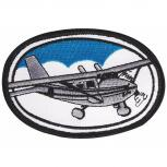 Aufnäher - Propellerflugzeug oval - 04593 - Gr. ca. 9 x 6 cm - Patches Stick Applikation