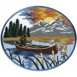 Aufnäher - Boot mit Landschaft - 07354 - Gr. ca. 23 x 20 cm - Patches Stick Applikation
