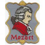 Patches Stick Applikation Aufnäher - MOZART - Gr. ca. 8cm x 7cm (00876 schwarzer Hintergrund) Komponist Persönlichkeit Musik Klassik