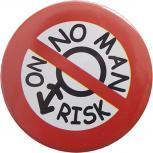 Magnet - No Man no Risk - 03768 rot-weiß - Gr. ca. 3,5 cm