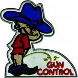 Aufnäher Pinkelmännchen - Gun Control - 01699 - Gr. ca. 8cm x 11cm