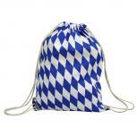 Turnbeutel Sporttasche Rucksack mit blau-weißer Raute  65035