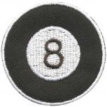 Aufnäher - Billardkugel 8 - 04657 - Gr. ca. Ø 6 cm - Patches Stick Applikation