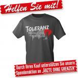 T-Shirt unisex mit Druck - Toleranz - Menschlichkeit ist grenzenlos - 09391 dunkelgrau - Gr. S-2XL