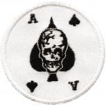 AUFNÄHER - Totenkopf - Ass Karte - 01913 - Gr. ca. 7 cm Durchmesser - Patches Stick Applikation