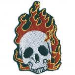 Aufnäher - Totenkopf Feuer - 04318 - Gr. ca. 6 x 4 cm - Patches Stick Applikation