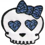 AUFNÄHER - Totenkopf Girl - 04936 - Gr. ca. 7 x 7 cm - Patches Stick Applikation