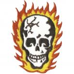 AUFNÄHER - Totenkopf Flammen - 06121 - Gr. ca. 8 x 5,5 cm - Patches Stick Applikation