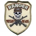 AUFNÄHER - Totenkopf - Ranger - weiß - 04624 - Gr. ca. 6,5 x 8,5 cm - Patches Stick Applikation
