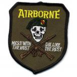 AUFNÄHER - Totenkopf Airborne - 04625 - Gr. ca. 6,5 x 8,5 cm - Patches Stick Applikation