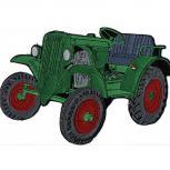 Rückenaufnäher - Traktor grün - 07453 - Gr. ca. 30 x 21 cm - Patches Stick Applikation