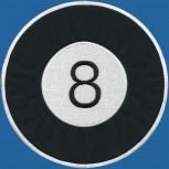 Rückenaufnäher - Billardkugel Nr. 8 - 08602 - Gr. ca. 24,5cm