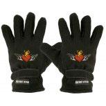 """(40385-56509) Fleece Handschuhe mit Einstickung """"FLAMMENDES HERZ"""