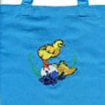 """Kindertasche Baumwolltasche mit schönem Stickmotiv """"KÜKEN AUF EI"""" NEU (12367 royalblau) Tasche Kindergartentasche"""