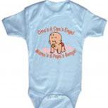 Babystrampler mit Print – Oma´s und Opa´s Engel. Mamas und Papas Bengel- 08300 blau – Gr. 0-24 Monate