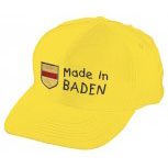 Kinder Baseballcap mit Stickerei - Wappen Made in Baden - 60897 gelb