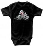 Babystrampler mit Print – Motorad fahrendes Baby- 08309 schwarz – Gr. 0- 24 Monate