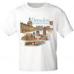 T-Shirt unisex mit Aufdruck - DRESDEN - Das Elbflorenz in Sachsen - 09302 weiß - Gr. S-XXL