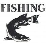PVC Aufkleber Applikation Fisch - Fische - Angler - Angeln - FISHING - 307126 - Gr. ca. 7 x 6,5 cm
