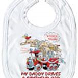 Baby-Lätzchen mit Druckmotiv  - Feuerwehr- Car - 08427 - weiss