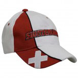 Baumwoll - WM - Cap mit Bestickung - Flagge Switzerland - 67151-1 weiss rot - Cap Kappe Baumwollcap Baseballcap