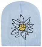 Beanie Mütze Blume 40809 hellblau