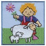 Aufnäher - Kind mit Schäfchen - 00945 - Gr. ca. 6,5cm x 4,5cm