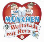 """Auto-Aufkleber Stick Applikation Emblem Aufkleber """"MÜNCHEN Weltstadt mit Herz"""" NEU Gr. ca. 6 x 7cm (301518) Wappen Landeszeichen Flagge"""