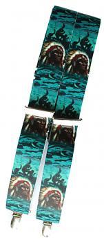 Hosenträger mit Print - Indianer Häuptling - 06539 grün