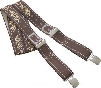Hosenträger mit Print - Lederhosen Leder Optik - 06807 - braun
