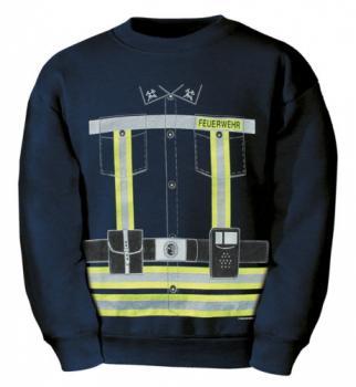 Kinder Sweatshirt mit Vorder- und Rückendruck - Feuerwehr neongelb - 09029 dunkelblau - Gr. 98-164
