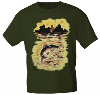 T-Shirt unisex mit Print - Bachforelle - 09807 olivgrün - Gr. S-XXL