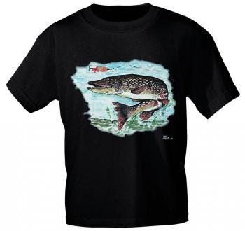 T-Shirt unisex mit Print - Hecht - 09815 schwarz - Gr. S-XXL