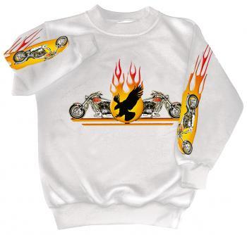 Sweatshirt mit Print - Chopper Flammen Eagle - 10117 - versch. farben zur Wahl - Gr. S-XXL