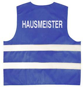 Warnweste mit Aufdruck - Hausmeister - 10335 blau - Gr. S-2XL