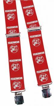 Hosenträger mit Print - Feuerwehr Symbol Abzeichen - 06697 rot