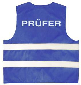 Warnweste mit Aufdruck - PRÜFER - 11565 blau Gr. S-4XL
