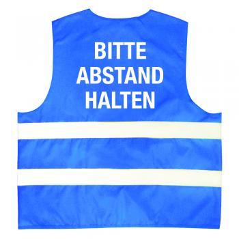 Warnweste mit Print - Bitte Abstand halten - 11569/1 Blau Gr. S-M