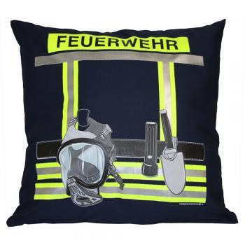 Kissen mit Print - Feuerwehr - ca. 40 x 40 cm - 11611 - Dekokissen Autokissen - Navy