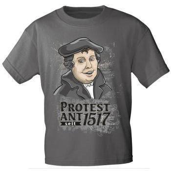T-Shirt mit Print - Martin Luther - Protest Ant seit 1517 - 12132 anthrazitgrau M