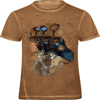 T-Shirt unisex mit Print - mystical bass - 12963 braun - ROCK YOU MUSIC SHIRTS - Gr. S
